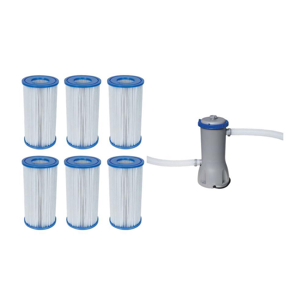 6 Pack Bestway Flow Clear 1500 GPH Pump Coleman Filter Pump Cartridges