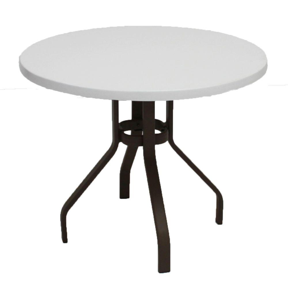 Dark Cafe Brown Round Commercial Fiberglass Patio Dining Table B36 R   The  Home Depot