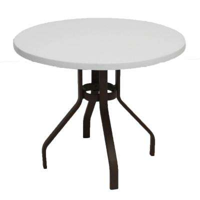 Marco Island 36 in. Dark Cafe Brown Round Commercial Fiberglass Patio Dining Table