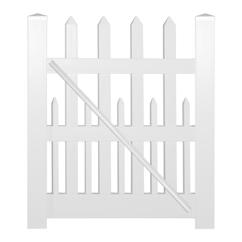 Ashville 4 ft. W x 4 ft. H White Vinyl Picket