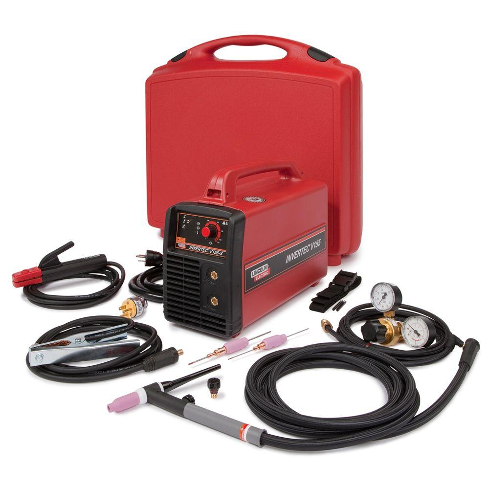 Lincoln Electric 155 Amp Invertec V155-S TIG/Stick Welder Ready-Pak with  TIG Torch and TIG Accessory Kit, Single Phase, 120V/230V