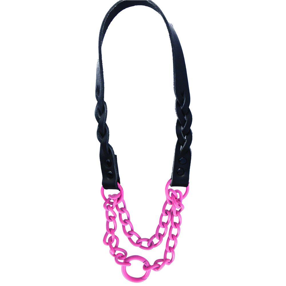 Platinum Pets 15 in. Braided Black Leather Martingale in Pink