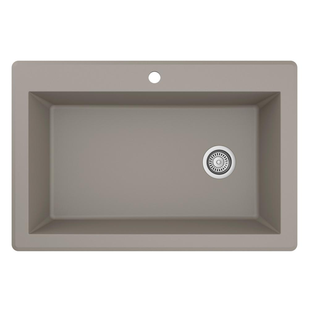 Karran Drop-In Quartz Composite 33 in. 1-Hole Single Bowl Kitchen Sink in Concrete