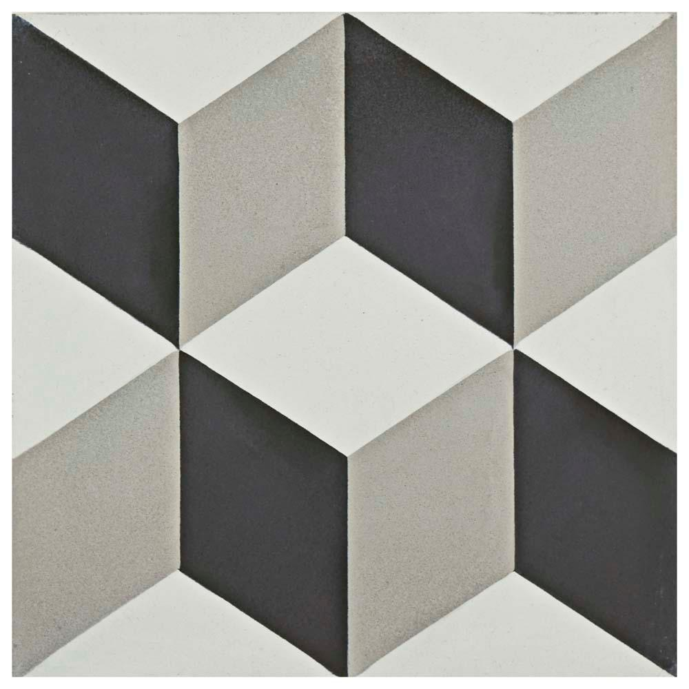 Merola Tile Cemento Lloyd Classic Encaustic 7-7/8 in. x 7-7/8 in. Cement Handmade Floor and Wall Tile