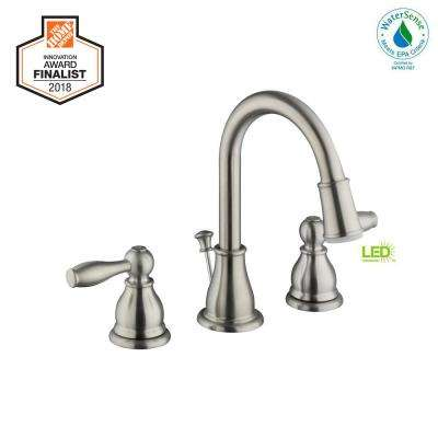 Mandouri 8 in. Widespread 2-Handle LED High-Arc Bathroom Faucet in Brushed Nickel