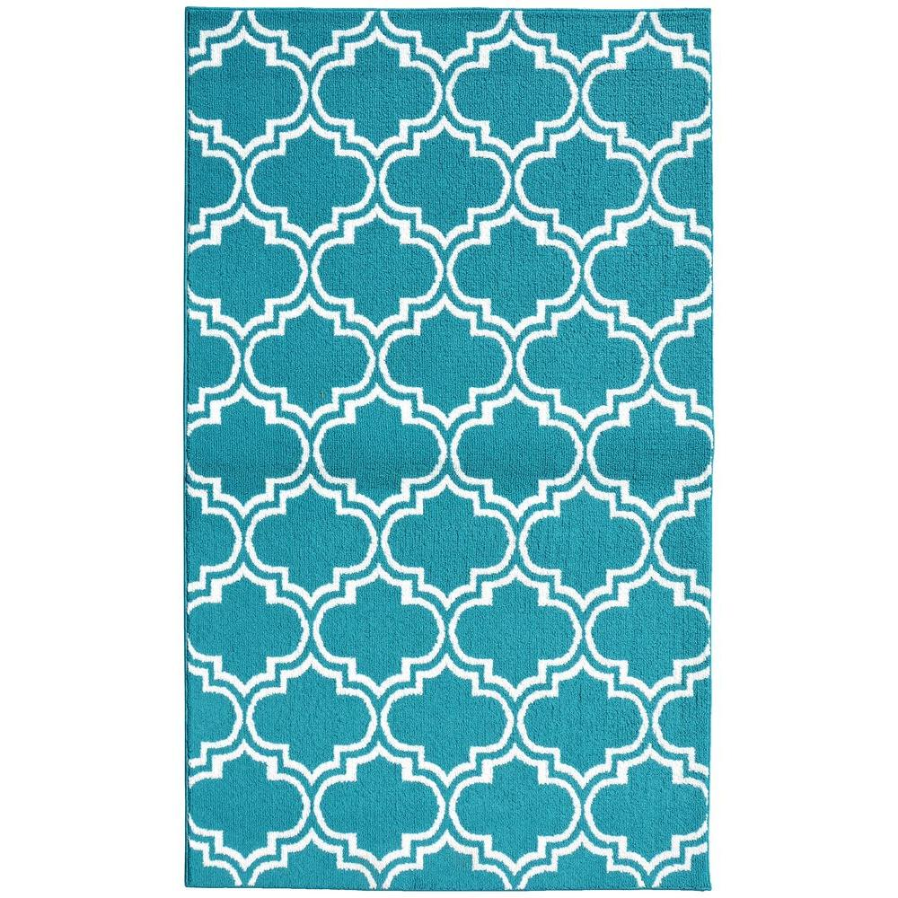 Teal/White 5 ft. x 7 ft. Area Rug