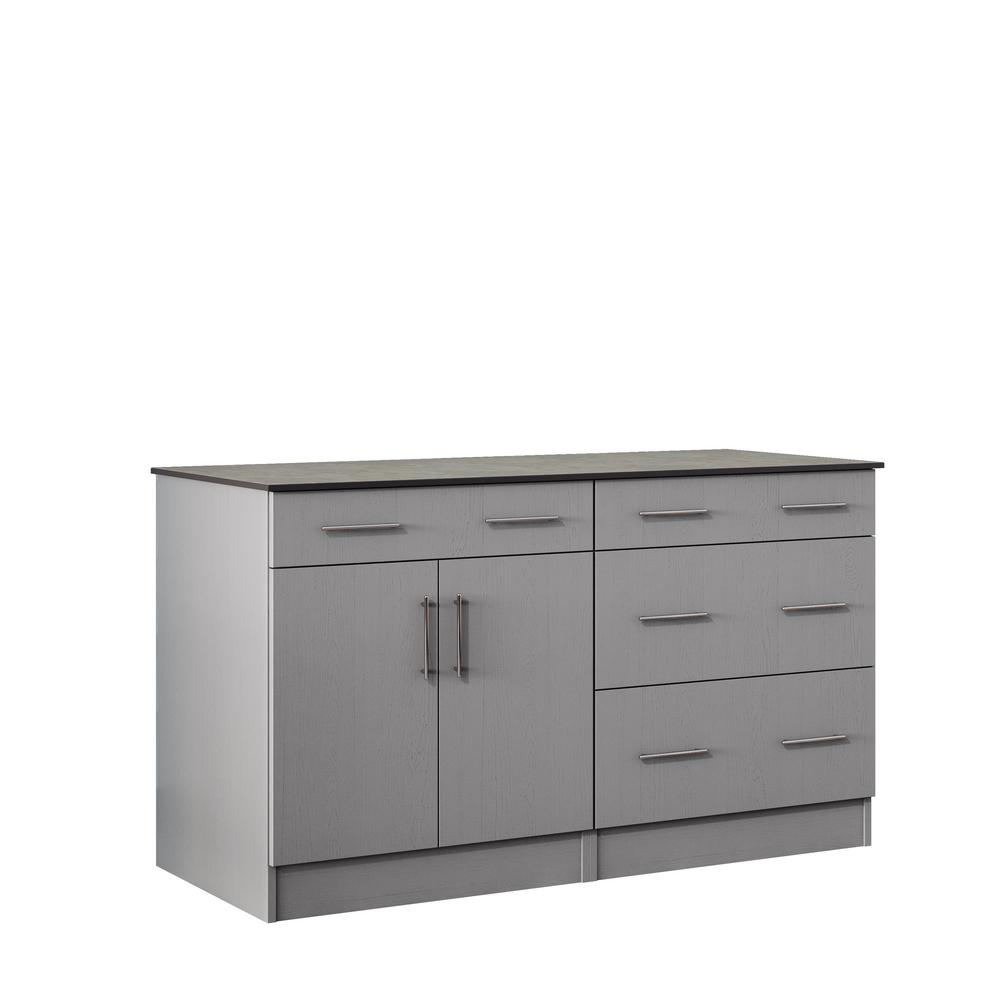 WeatherStrong Miami 59.5 in. Outdoor Cabinets with Countertop 2 Door and 2 Drawer in Gray