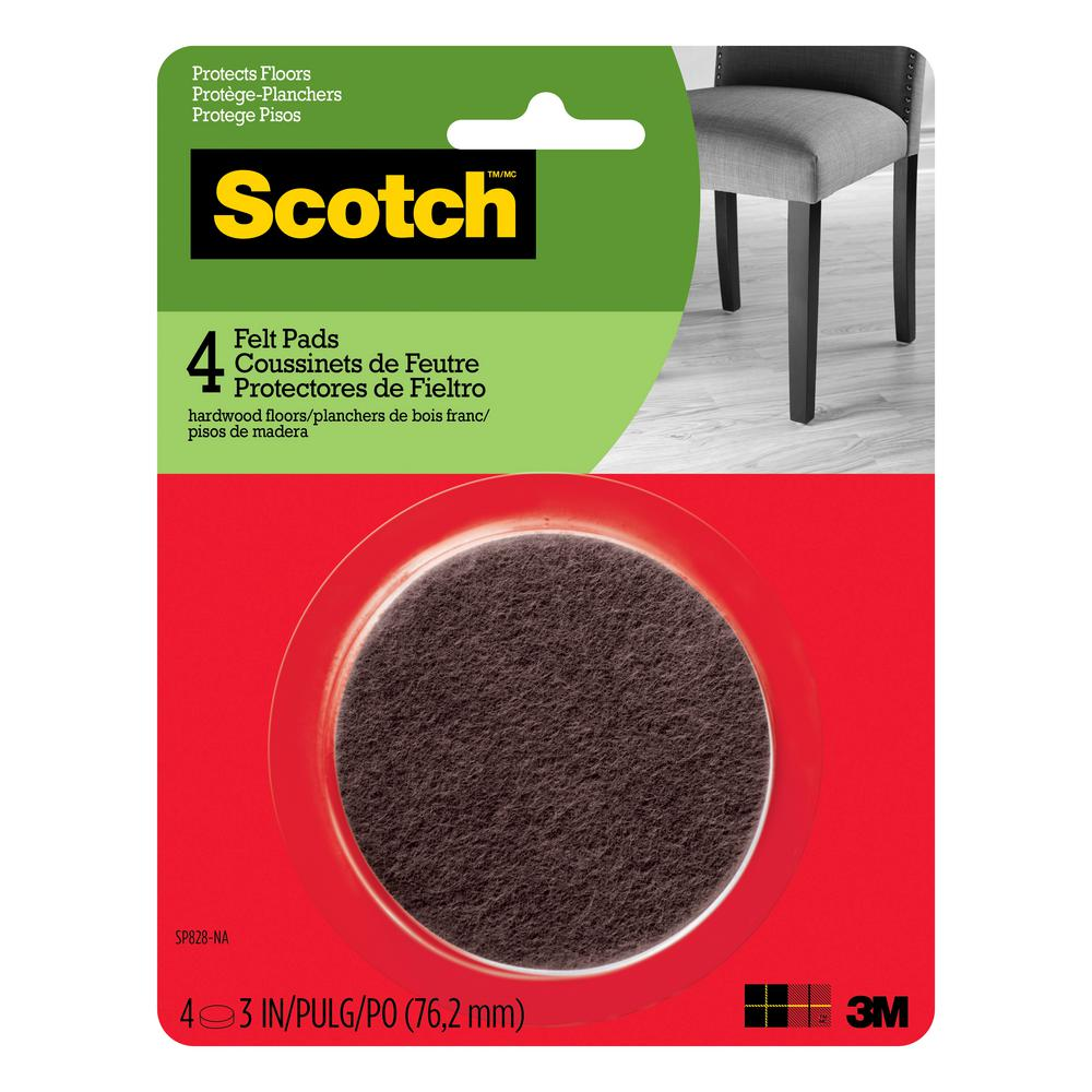 Scotch 3 in. Brown Round Surface Protection Felt Floor Pads (4-Pack)