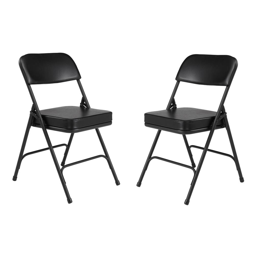 National Public Seating 3200 Series Premium 2 in. Vinyl Upholstered Double Hinge Folding Chair, Black (Pack of 2)