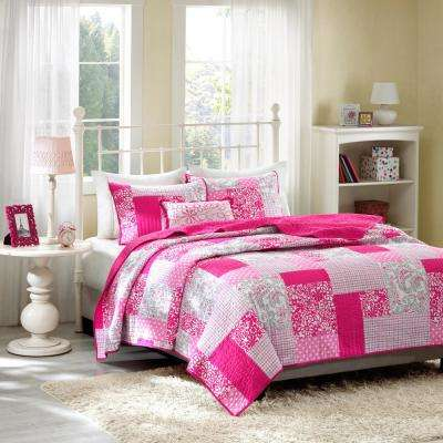 May 3-Piece Pink Twin/Twin XL Print Coverlet Quilt Set