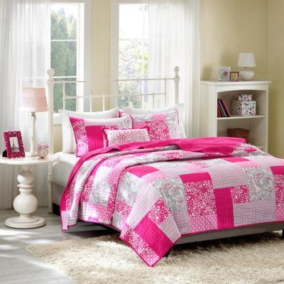 May 4-Piece Pink Full/Queen Print Coverlet Quilt Set