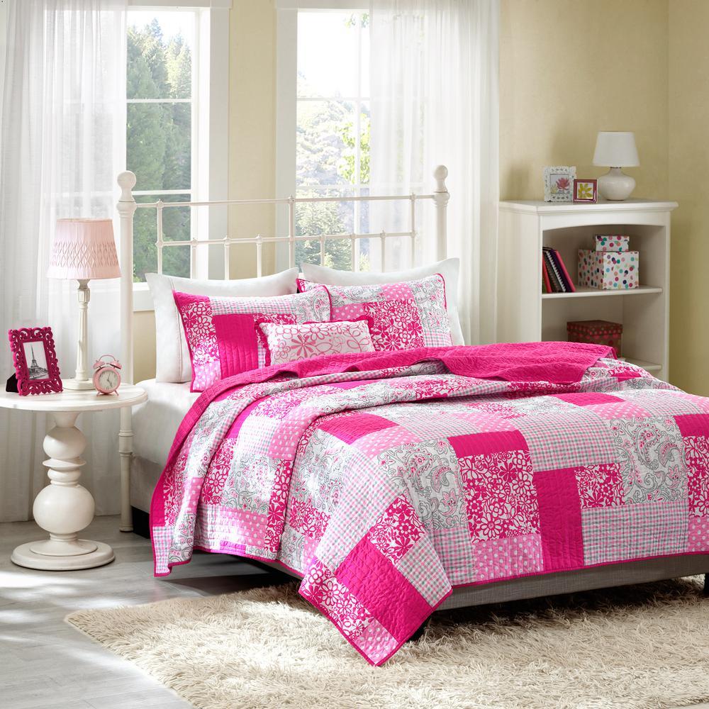 Mi Zone May 4-Piece Pink Full/Queen Print Coverlet Quilt Set MZ80-234