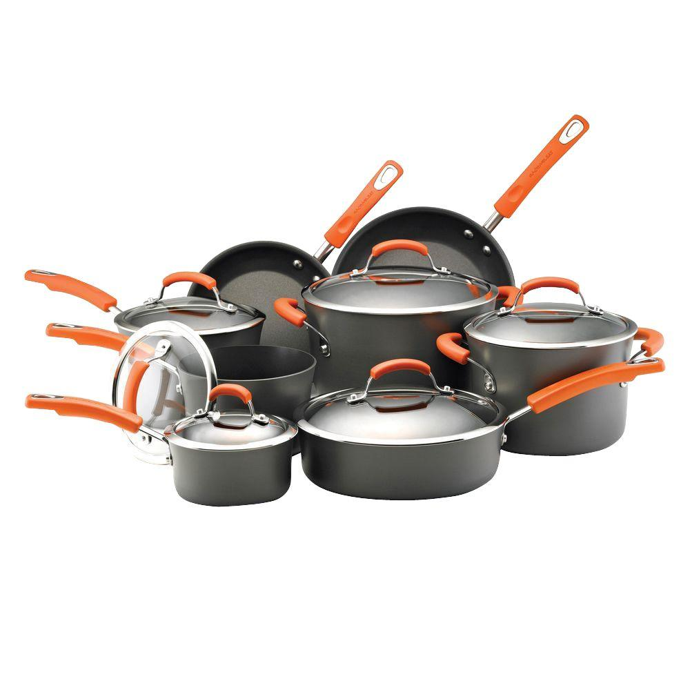 14-Piece Gray/Orange Cookware Set with Lids