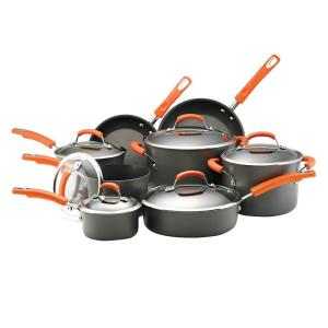 Rachael Ray 14-Piece Gray/Orange Cookware Set with Lids by Rachael Ray