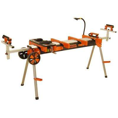 Heavy Duty Portable Miter Saw Stand with Quick Release Tool Mounts, Wheels, Work Light, Vise, 4-Outlet Power