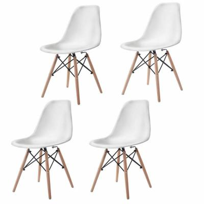 Mid Century White Modern DSW Dining Side Chair Wood Legs (Set of 4)