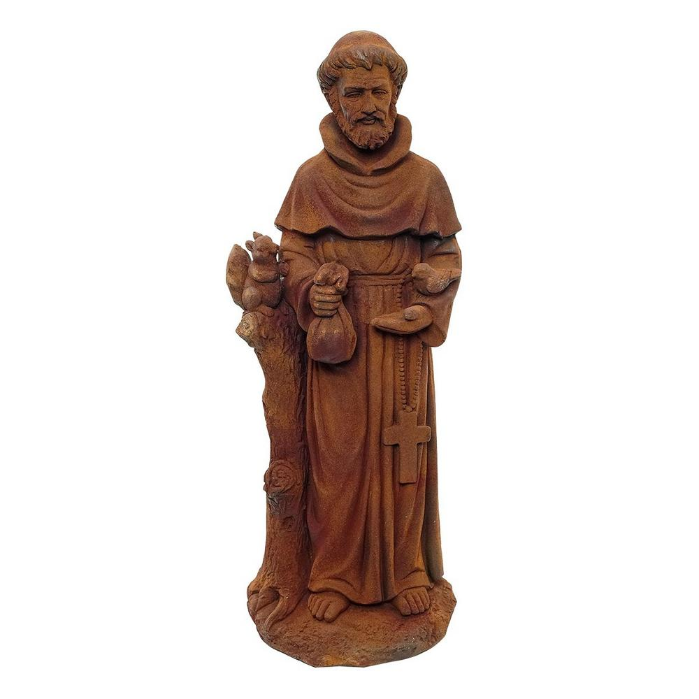 31 in. Tall St. Francis Stone Garden Statue Brick in Red