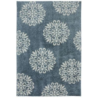 Exploded Medallions Blue Woven 5 ft. x 7 ft. Indoor Area Rug