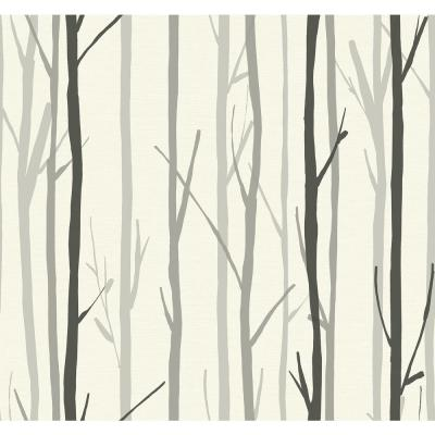 Branch Charcoal and White Botanical Wallpaper