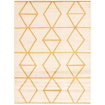 Ana Ivory-Gold 5 ft. 3 in. x 7 ft. 3 in. Geometric Area Rug