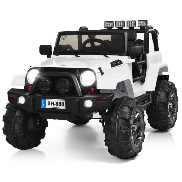Costway 12 Volt Kids Ride On Truck Car With Bluetooth Remote Control Mp3 Music Led Lights White Ty325957wh The Home Depot