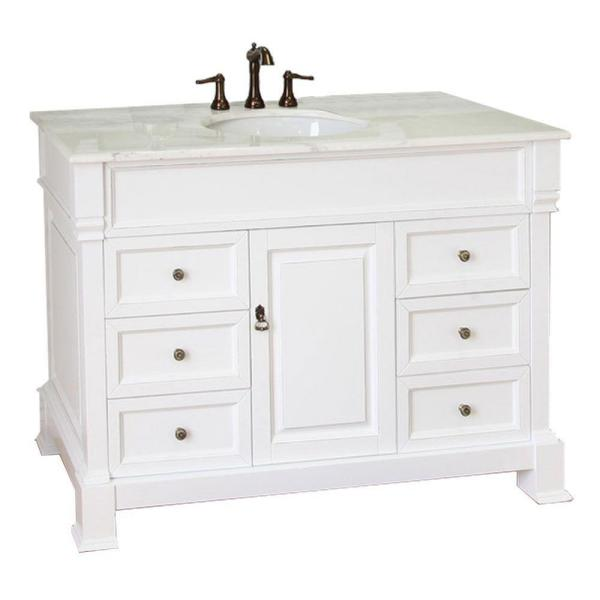 Olivia 50WH 50 in. Single Vanity in White with Marble Vanity Top in White