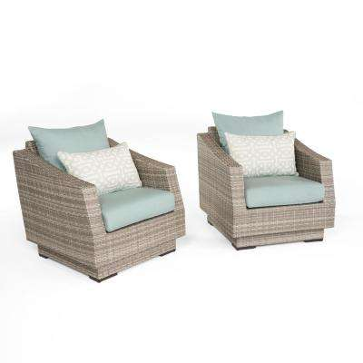 Cannes 2-Piece All-Weather Wicker Patio Club Chair Seating Set with Spa Blue Cushions