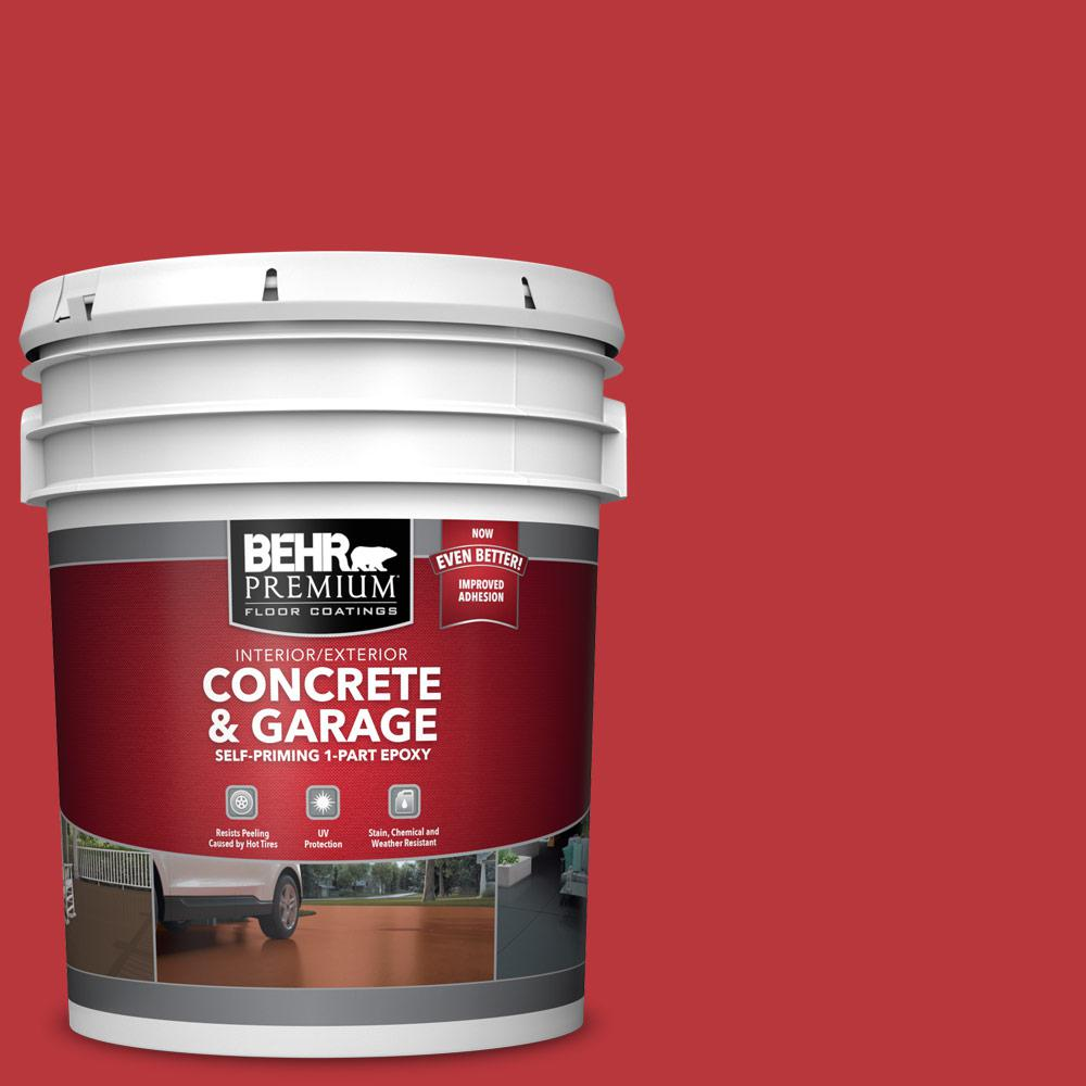 BEHR Premium 5 gal. #OSHA-5 OSHA SAFETY RED Self-Priming 1-Part Epoxy Satin Interior/Exterior Concrete and Garage Floor Paint