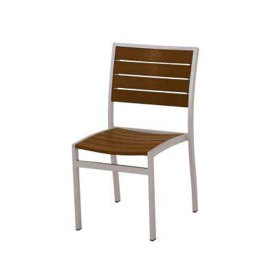 Euro Textured Silver All Weather Aluminum/Plastic Outdoor Dining Side Chair  In Teak Slats