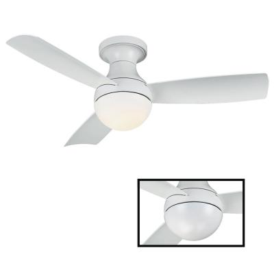 Aloft 44 in. LED Indoor/Outdoor Matte White 3-Blade Smart Flush Mount Ceiling Fan with 3000K Light Kit and Wall Control