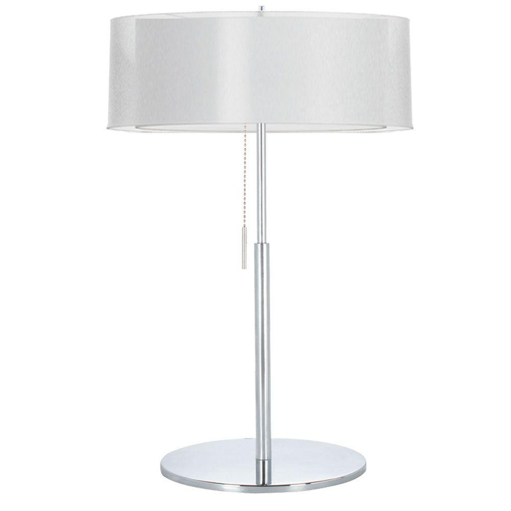 Catherine 22 in. Incandescent Polished Chrome Table Lamp with White Linen
