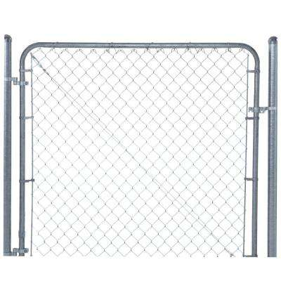 6 ft. x 4 ft. Galvanized Metal Adjustable Single Walk-Through Chain Link Fence Gate