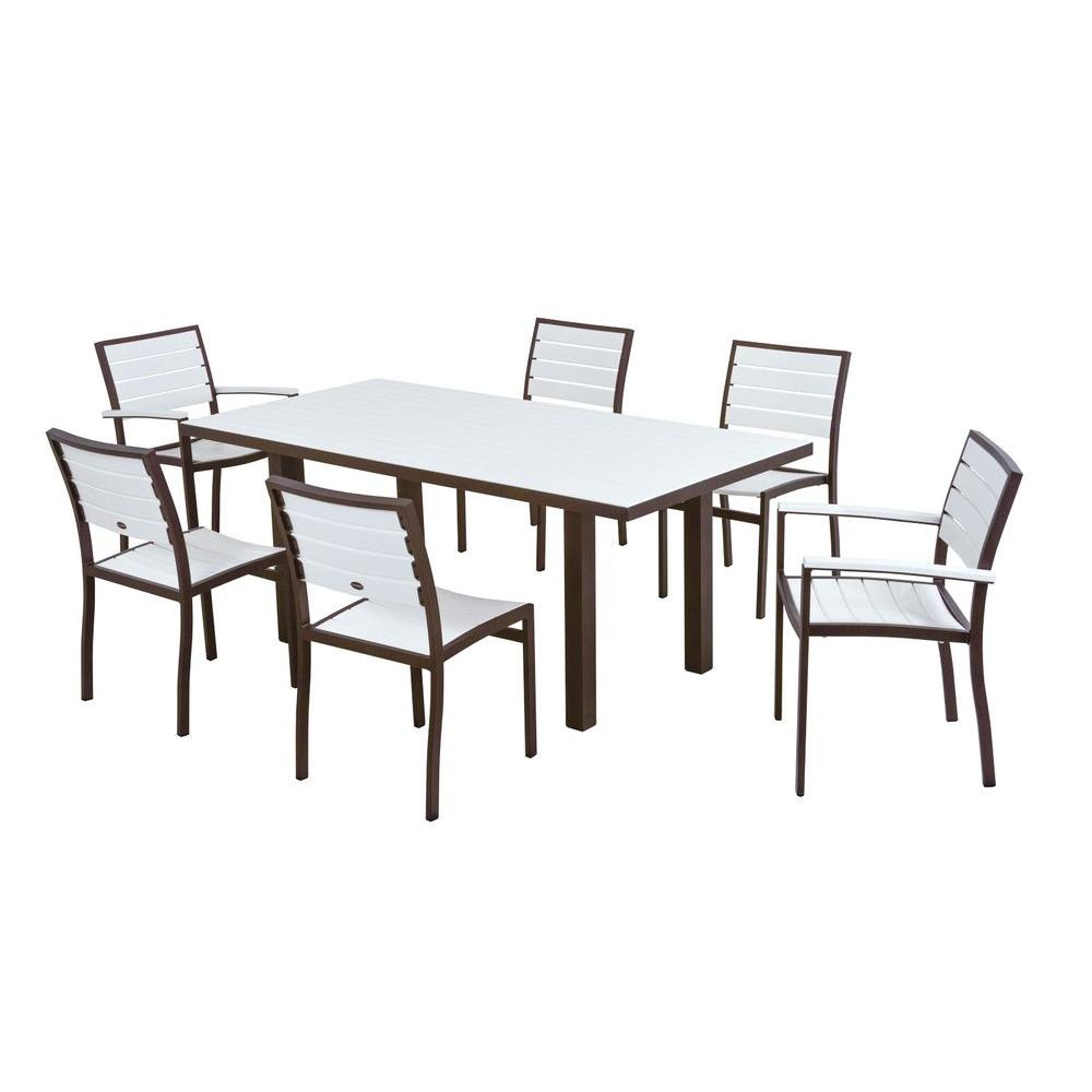 POLYWOOD Euro Textured Bronze 7-Piece Patio Dining Set with White Slats