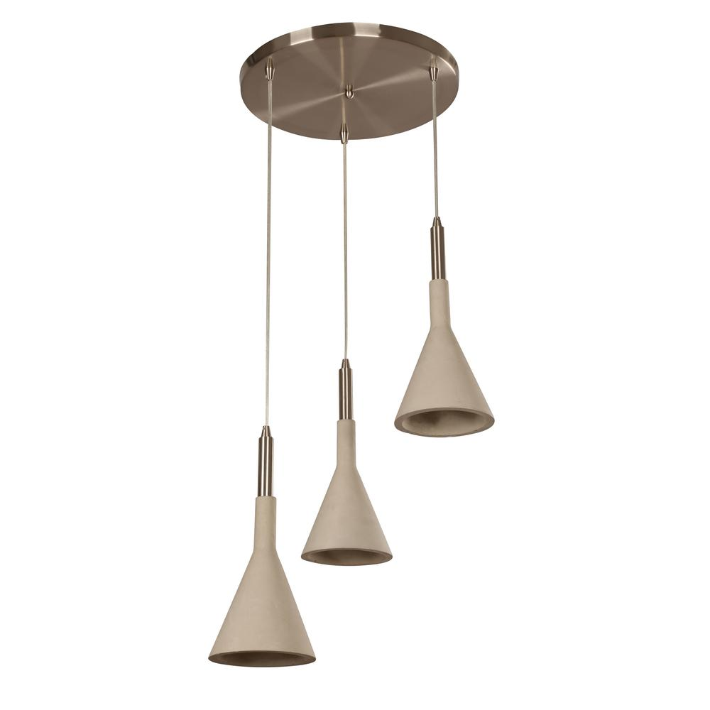 BELDI Ciment 3-Lights Satin Nickel and Cement Pendant Fix...