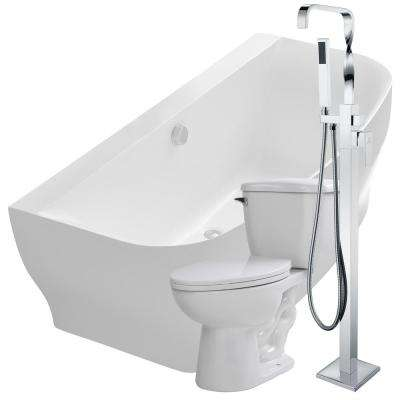 Bank 64.9 in. Acrylic Flatbottom Non-Whirlpool Bathtub in White with Yosemite Faucet and Kame 1.28 GPF Toilet