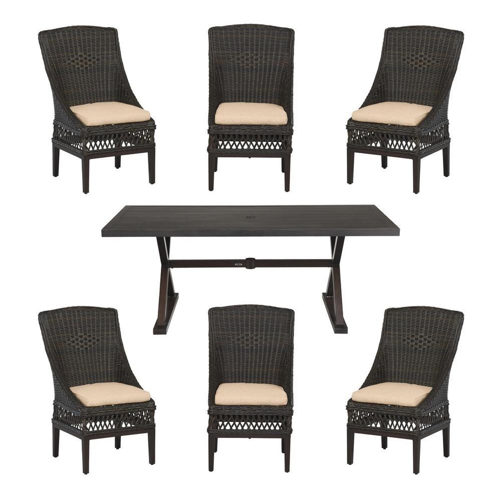 Hampton Bay Woodbury Dark Brown 7-Piece Wicker Outdoor Patio Dining Set with CushionGuard Toffee Tan Cushions was $1299.0 now $799.0 (38.0% off)