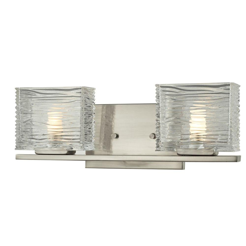 Pure 2-Light Brushed Nickel Bath Vanity Light