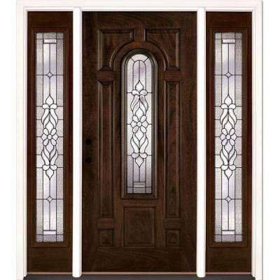 67.5 in. x 81.625 in. Lakewood Patina Stained Chestnut Mahogany Right-Hand Fiberglass Prehung Front Door with Sidelites