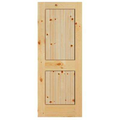 40 in. x 84 in. Knotty Pine Veneer 2 Panel Plank V-Groove Solid Wood Interior Barn Door Slab