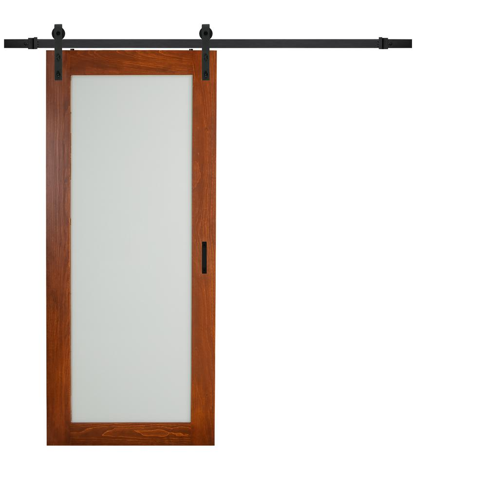 TRUporte 36 in. x 84 in. Cherry MDF Frosted Glass 1 Lite Design Sliding  Barn Door with Rustic Hardware Kit