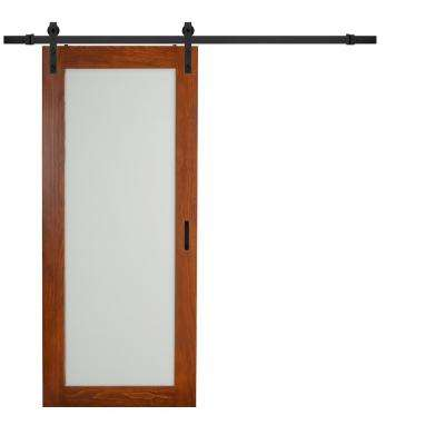 36 in. x 84 in. Cherry MDF Frosted Glass 1 Lite Design Sliding Barn Door with Rustic Hardware Kit