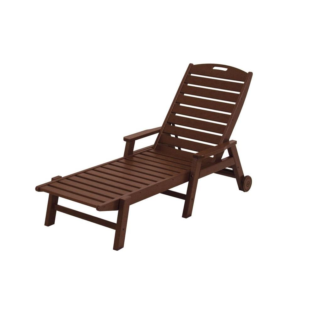 Polywood Nautical Mahogany Wheeled Plastic Outdoor Patio Chaise Lounge