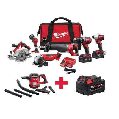 M18 18-Volt Lithium-Ion Cordless Combo Kit (6-Tool) with Free M18 Vacuum and M18 XC 5AH Battery