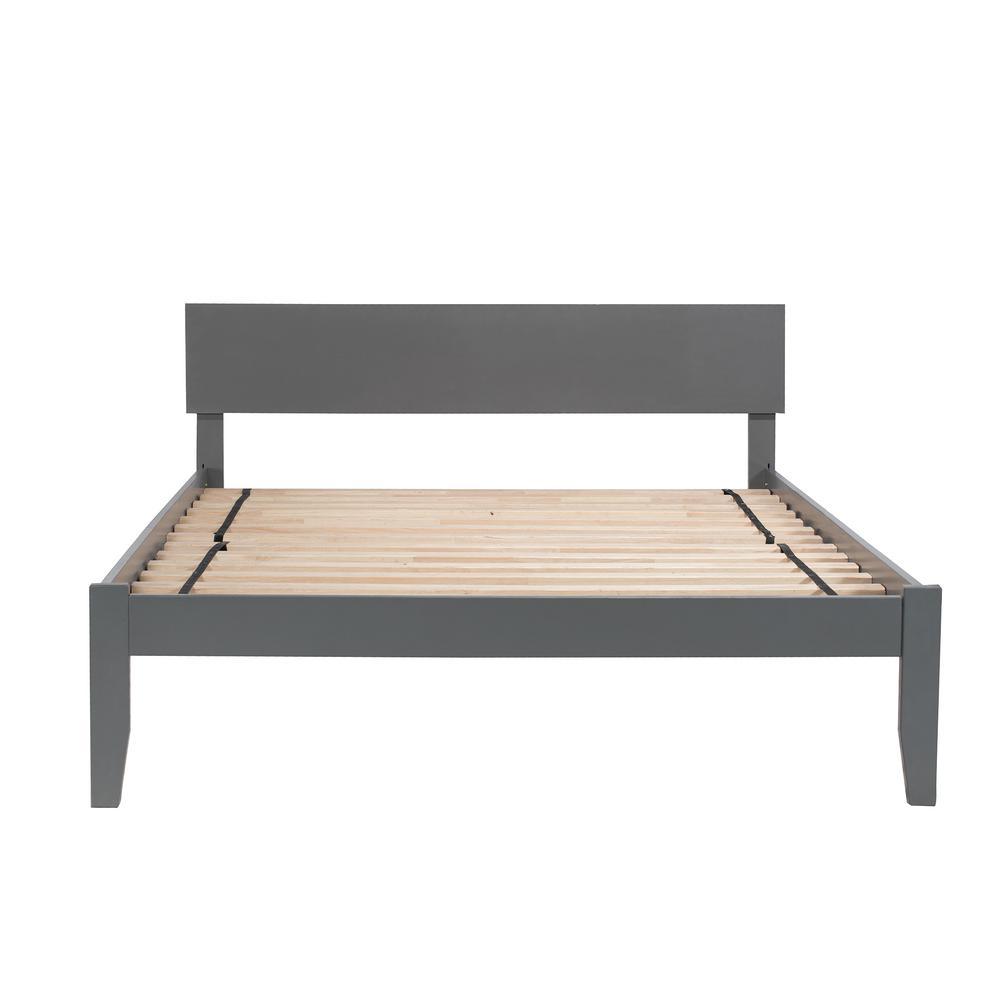 Orlando Queen Platform Bed with Open Foot Board in Grey