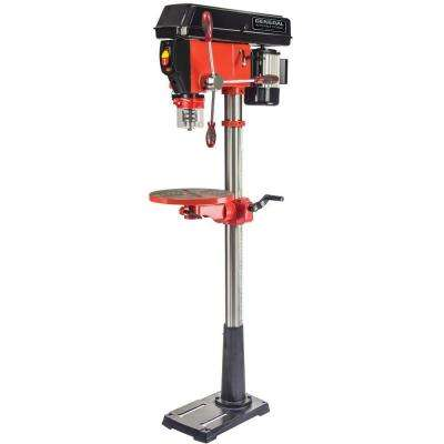 5 Amp 15 in. 16 Speed Floor Standing Drill Press with Laser and LED Light