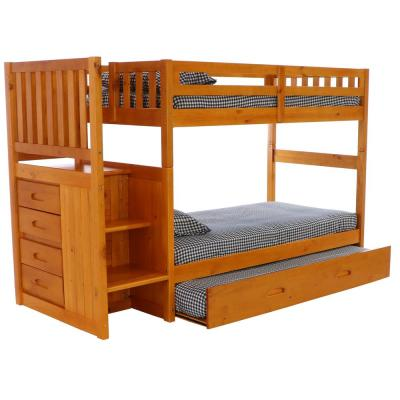 Honey Solid Pine Twin over Twin Staircase Bunkbed with 4-Drawer Chest and Twin Trundle