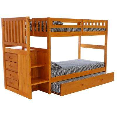 Honey Twin over Twin Solid Pine Staircase Bunkbed with Four Drawer Chest and Twin Trundle