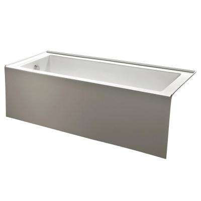 Contemporary 5 ft. Acrylic Left Hand Drain Rectangular Alcove Non-Whirlpool Bathtub in White