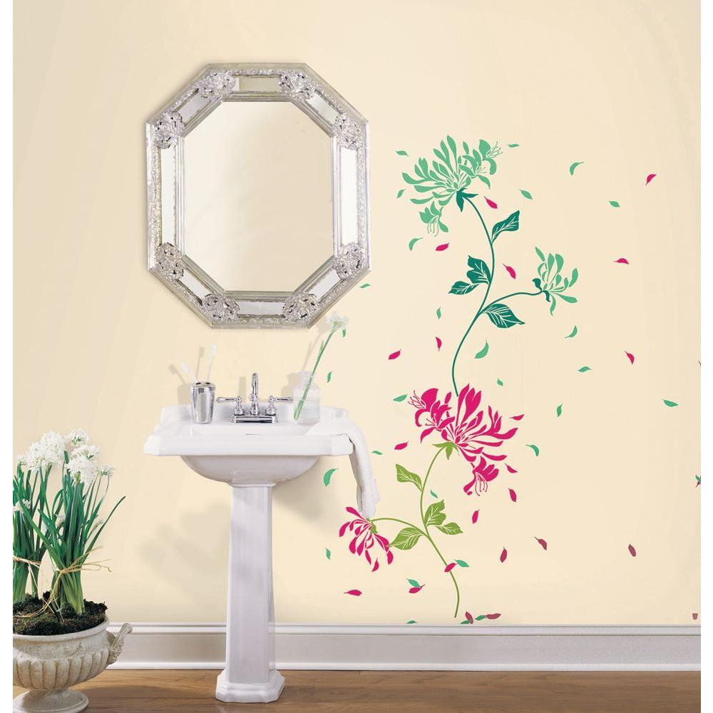 Snap 39.75 in. x 17.125 in. Green and Rose Floral Wall Decal