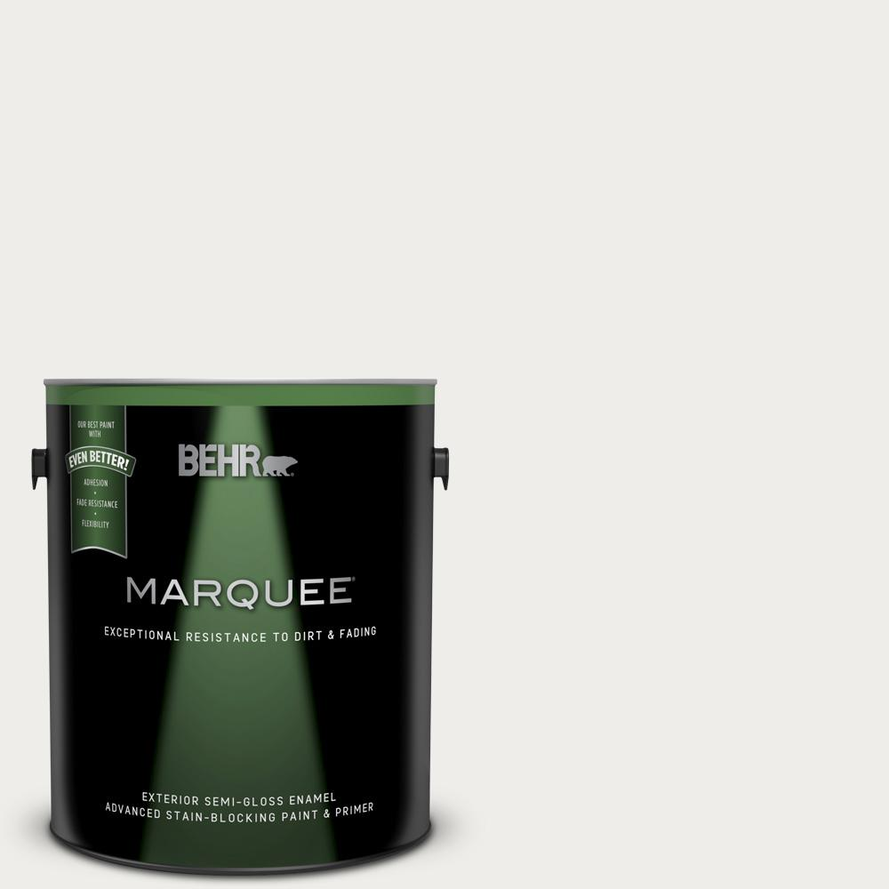 BEHR MARQUEE 1 gal  #PWN-53 White Mink Semi-Gloss Enamel Exterior Paint and  Primer in One